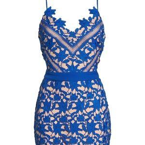 Adelyn Rae Blue Lace Sheath Dress